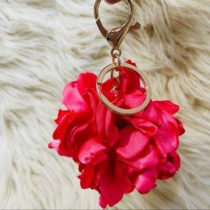 Chic satin flower petal pink & gold keychain